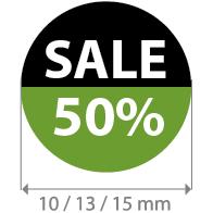 Brilsticker percentage sale rond BR-0002